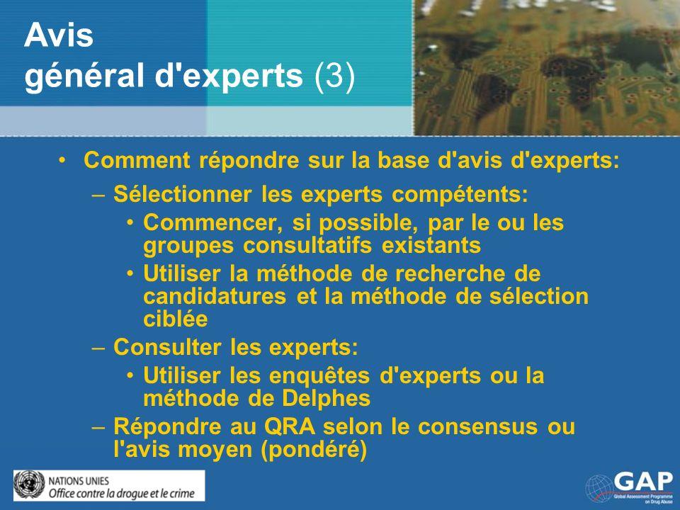 Avis général d'experts (3) Comment répondre sur la base d'avis d'experts: –Sélectionner les experts compétents: Commencer, si possible, par le ou les