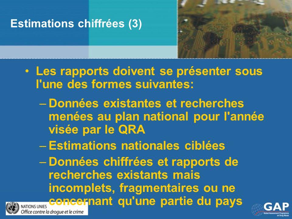 Estimations chiffrées (3) Les rapports doivent se présenter sous l'une des formes suivantes: –Données existantes et recherches menées au plan national