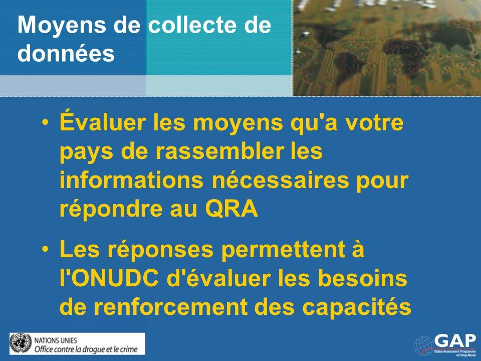 Moyens de collecte de données Évaluer les moyens qu'a votre pays de rassembler les informations nécessaires pour répondre au QRA Les réponses permette