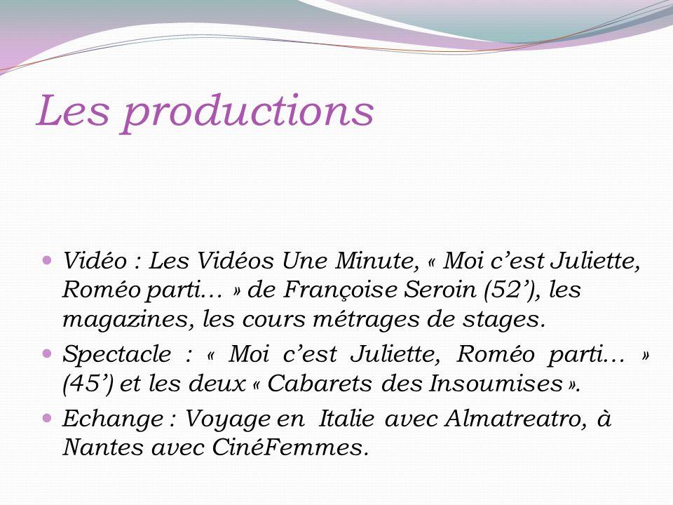 Les productions Vidéo : Les Vidéos Une Minute, « Moi cest Juliette, Roméo parti… » de Françoise Seroin (52), les magazines, les cours métrages de stages.