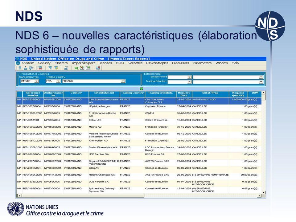 NDS NDS 6 – nouvelles caractéristiques (élaboration sophistiquée de rapports)