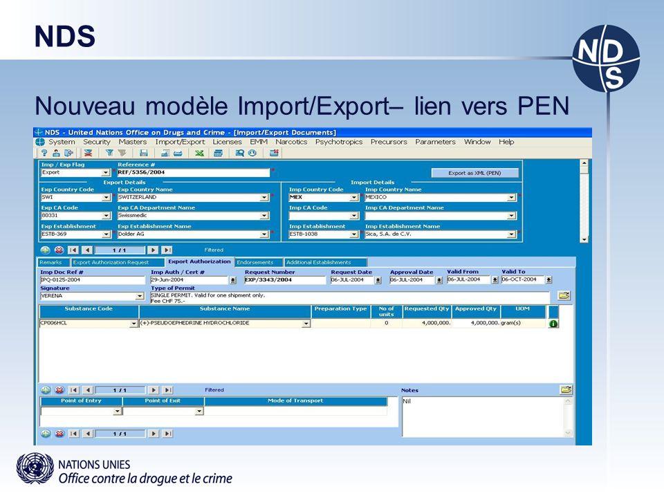 NDS Nouveau modèle Import/Export– lien vers PEN
