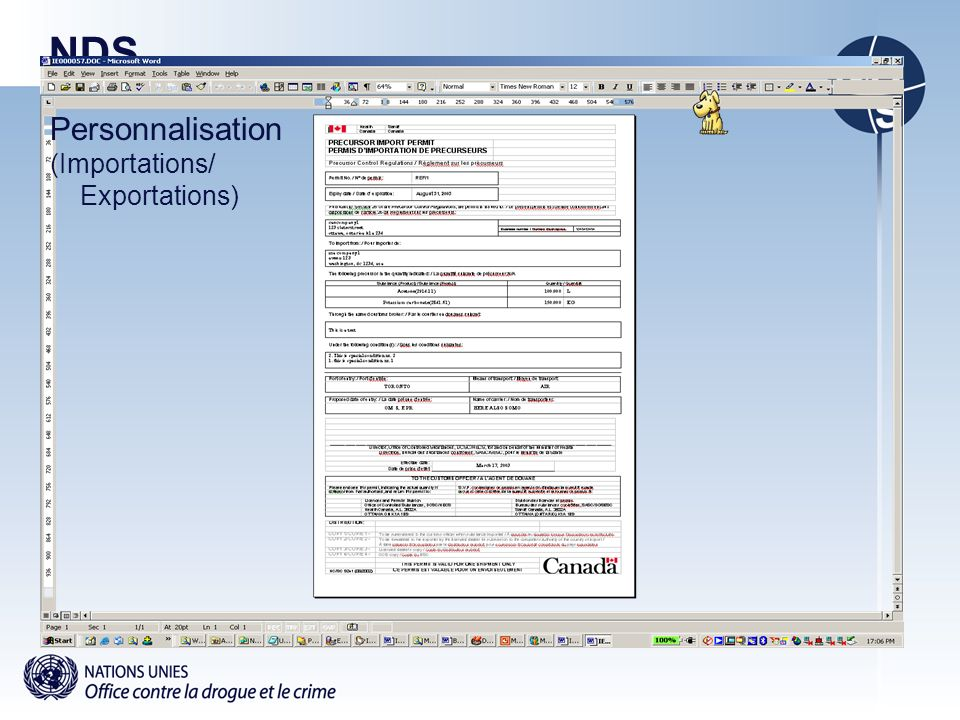 NDS Personnalisation (Importations/ Exportations)