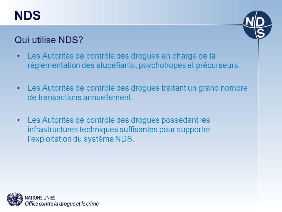 NDS Qui utilise NDS? Les Autorités de contrôle des drogues en charge de la réglementation des stupéfiants, psychotropes et précurseurs. Les Autorités