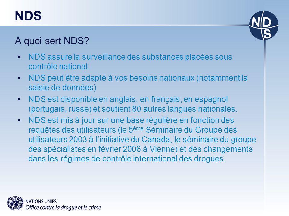 NDS A quoi sert NDS.NDS assure la surveillance des substances placées sous contrôle national.