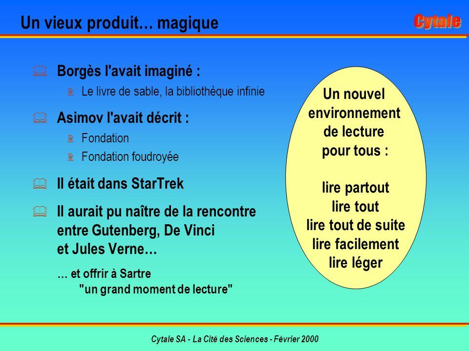 Cytale SA - La Cité des Sciences - Février 2000 Le Livre Électronique