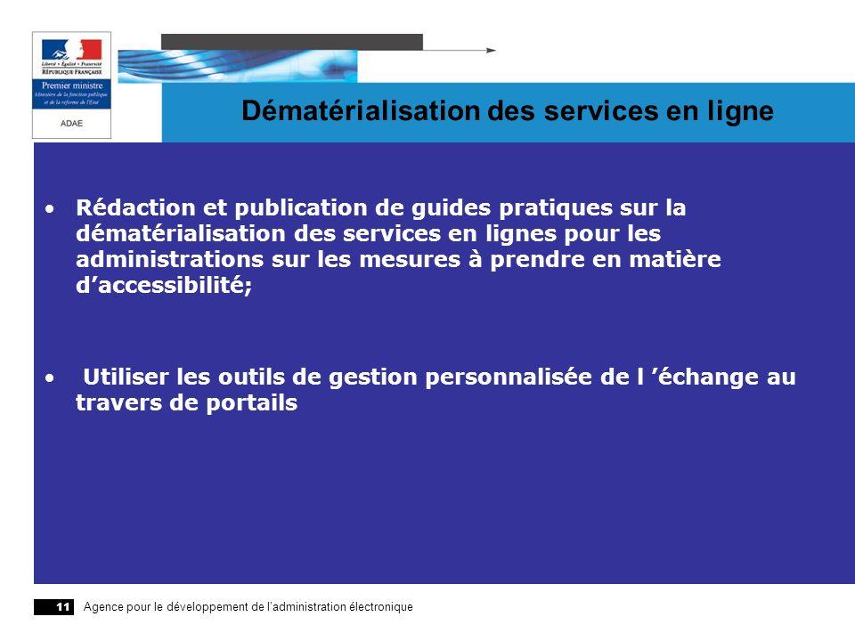 Agence pour le développement de ladministration électronique 11 Dématérialisation des services en ligne Rédaction et publication de guides pratiques s