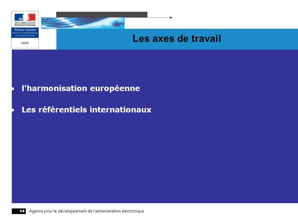 Agence pour le développement de ladministration électronique 14 Les axes de travail l'harmonisation européenne Les référentiels internationaux