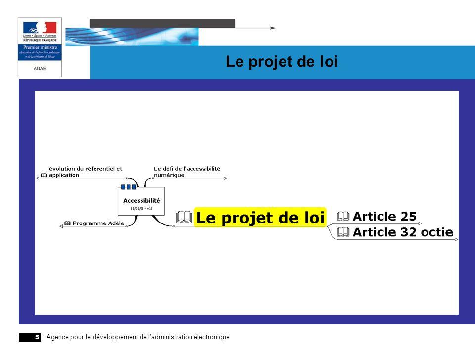 Agence pour le développement de ladministration électronique 5 Le projet de loi
