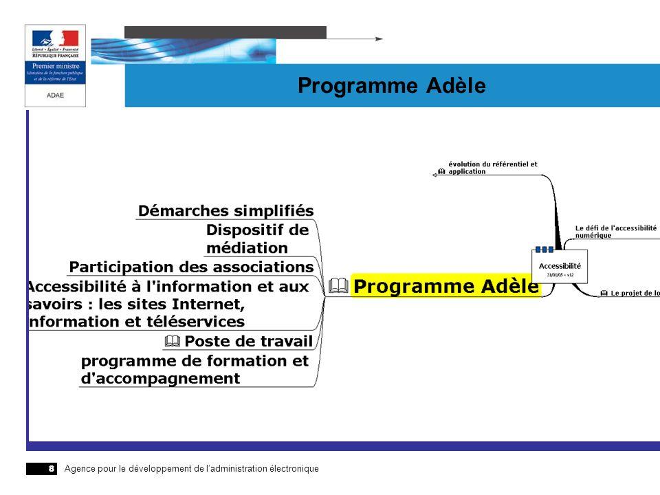 Agence pour le développement de ladministration électronique 8 Programme Adèle