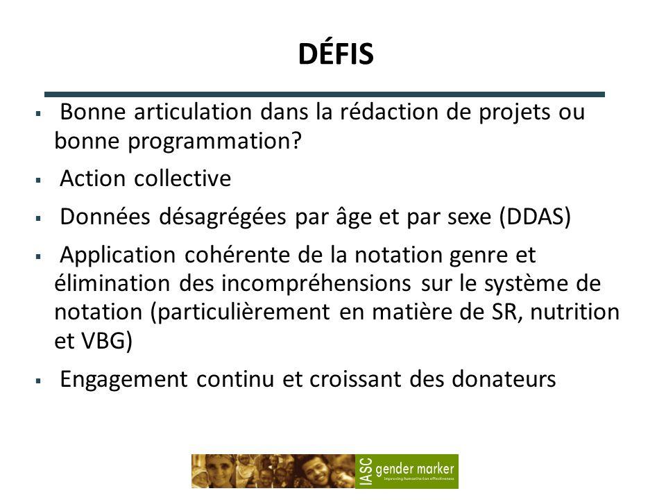 DÉFIS Bonne articulation dans la rédaction de projets ou bonne programmation.