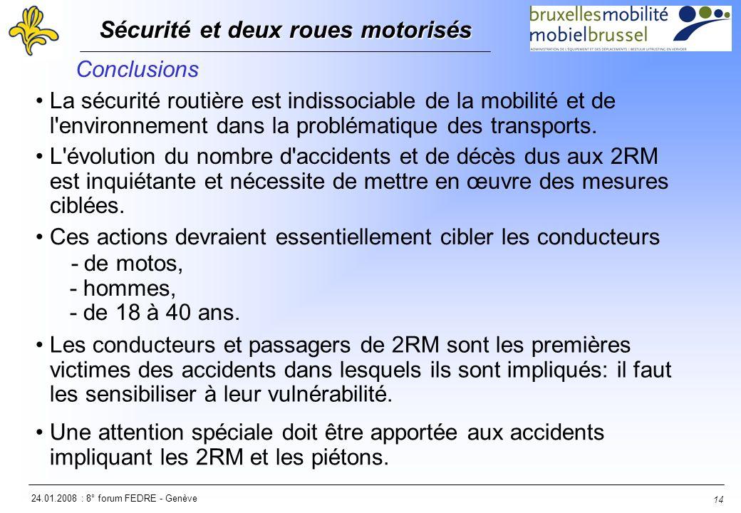 24.01.2008 : 8° forum FEDRE - Genève Sécurité et deux roues motorisés Sécurité et deux roues motorisés 14 Conclusions La sécurité routière est indissociable de la mobilité et de l environnement dans la problématique des transports.