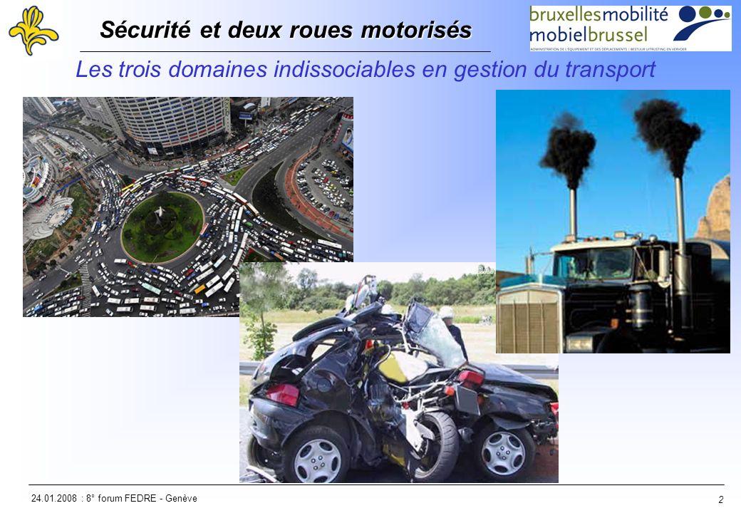 24.01.2008 : 8° forum FEDRE - Genève Sécurité et deux roues motorisés Sécurité et deux roues motorisés 2 Les trois domaines indissociables en gestion du transport