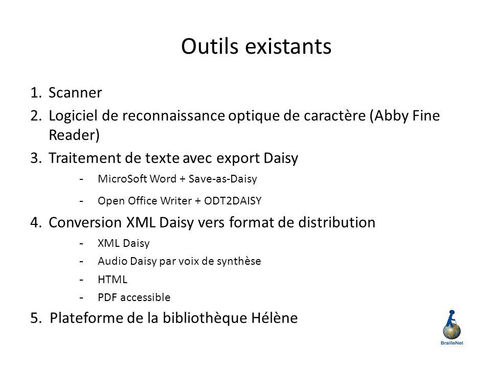 Outils existants 1.Scanner 2.Logiciel de reconnaissance optique de caractère (Abby Fine Reader) 3.Traitement de texte avec export Daisy - MicroSoft Wo