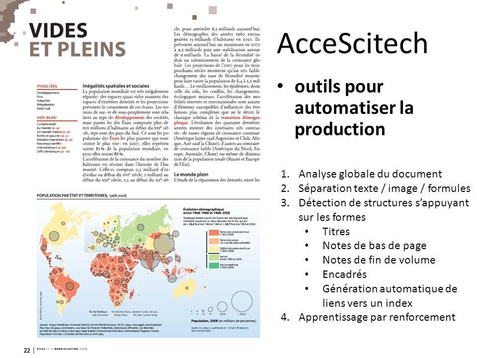 AcceScitech outils pour automatiser la production 1.Analyse globale du document 2.Séparation texte / image / formules 3.Détection de structures sappuy
