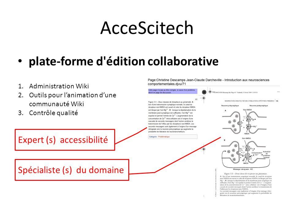 AcceScitech plate-forme d'édition collaborative Spécialiste (s) du domaine Expert (s) accessibilité 1.Administration Wiki 2.Outils pour lanimation dun