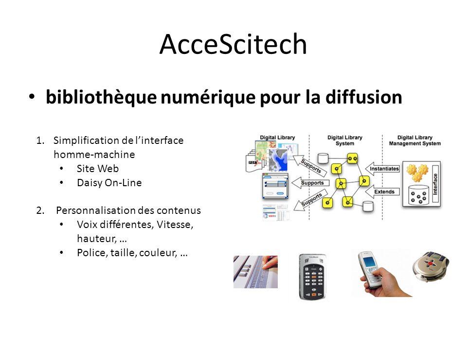 AcceScitech bibliothèque numérique pour la diffusion 1.Simplification de linterface homme-machine Site Web Daisy On-Line 2. Personnalisation des conte
