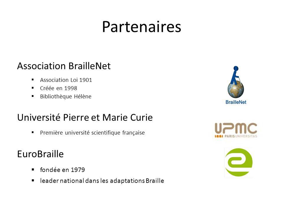 Partenaires Association BrailleNet Association Loi 1901 Créée en 1998 Bibliothèque Hélène Université Pierre et Marie Curie Première université scienti