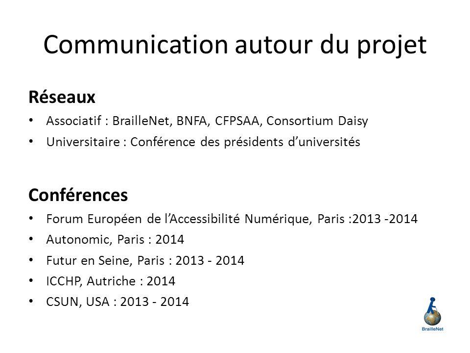 Communication autour du projet Réseaux Associatif : BrailleNet, BNFA, CFPSAA, Consortium Daisy Universitaire : Conférence des présidents duniversités