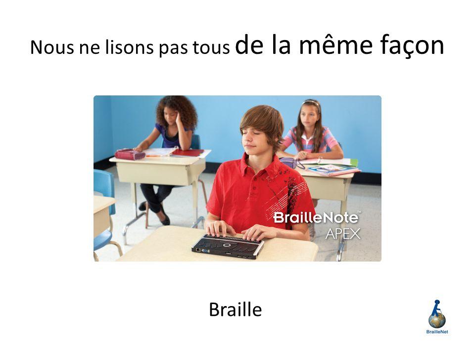 Nous ne lisons pas tous de la même façon Braille
