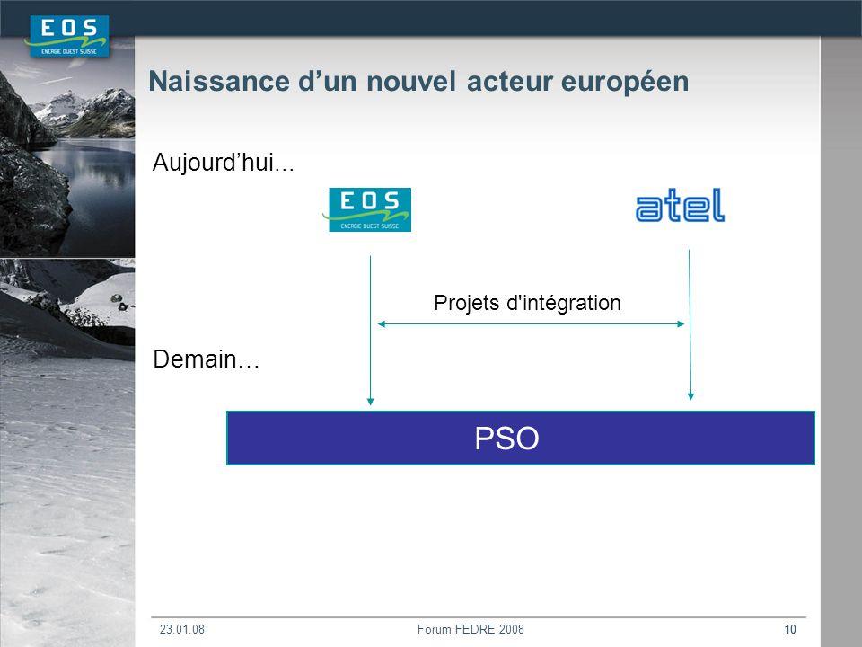 23.01.08Forum FEDRE 200810 Naissance dun nouvel acteur européen Aujourdhui...