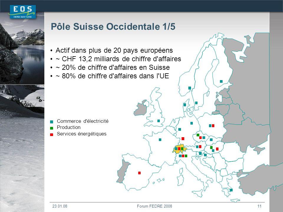 23.01.08Forum FEDRE 200811 Commerce d électricité Production Services énergétiques Actif dans plus de 20 pays européens ~ CHF 13,2 milliards de chiffre d affaires ~ 20% de chiffre d affaires en Suisse ~ 80% de chiffre d affaires dans l UE Pôle Suisse Occidentale 1/5