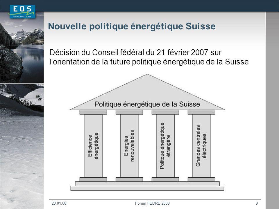 23.01.08Forum FEDRE 200888 Nouvelle politique énergétique Suisse Décision du Conseil fédéral du 21 février 2007 sur lorientation de la future politique énergétique de la Suisse