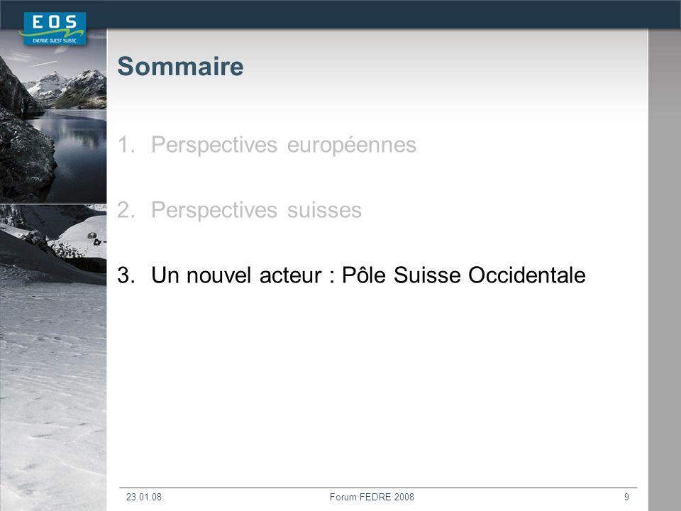 23.01.08Forum FEDRE 20089 Sommaire 1.Perspectives européennes 2.Perspectives suisses 3.Un nouvel acteur : Pôle Suisse Occidentale