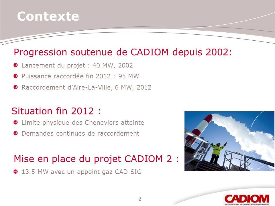 2 Contexte Progression soutenue de CADIOM depuis 2002: Lancement du projet : 40 MW, 2002 Puissance raccordée fin 2012 : 95 MW Raccordement dAire-La-Vi