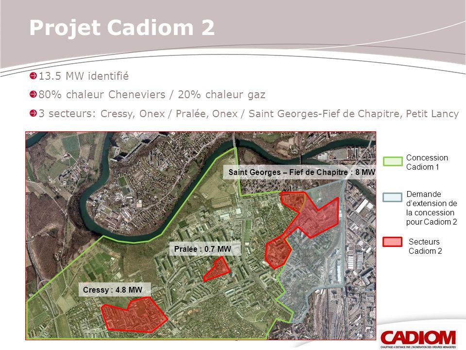 13.5 MW identifié 80% chaleur Cheneviers / 20% chaleur gaz 3 secteurs: Cressy, Onex / Pralée, Onex / Saint Georges-Fief de Chapitre, Petit Lancy 5 Pro