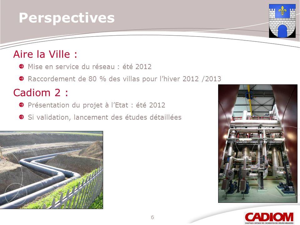 6 Perspectives Aire la Ville : Mise en service du réseau : été 2012 Raccordement de 80 % des villas pour lhiver 2012 /2013 Cadiom 2 : Présentation du