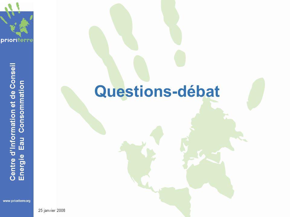 www.prioriterre.org Centre dInformation et de Conseil Energie Eau Consommation 25 janvier 2008 Questions-débat