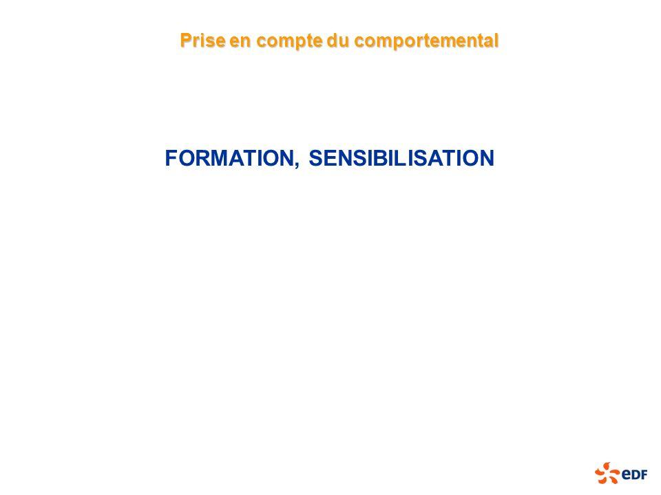 FORMATION, SENSIBILISATION Prise en compte du comportemental