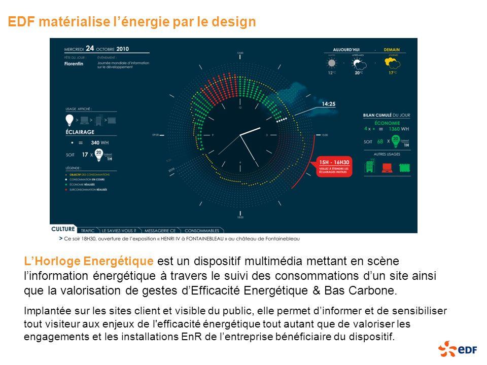 EDF matérialise lénergie par le design LHorloge Energétique est un dispositif multimédia mettant en scène linformation énergétique à travers le suivi
