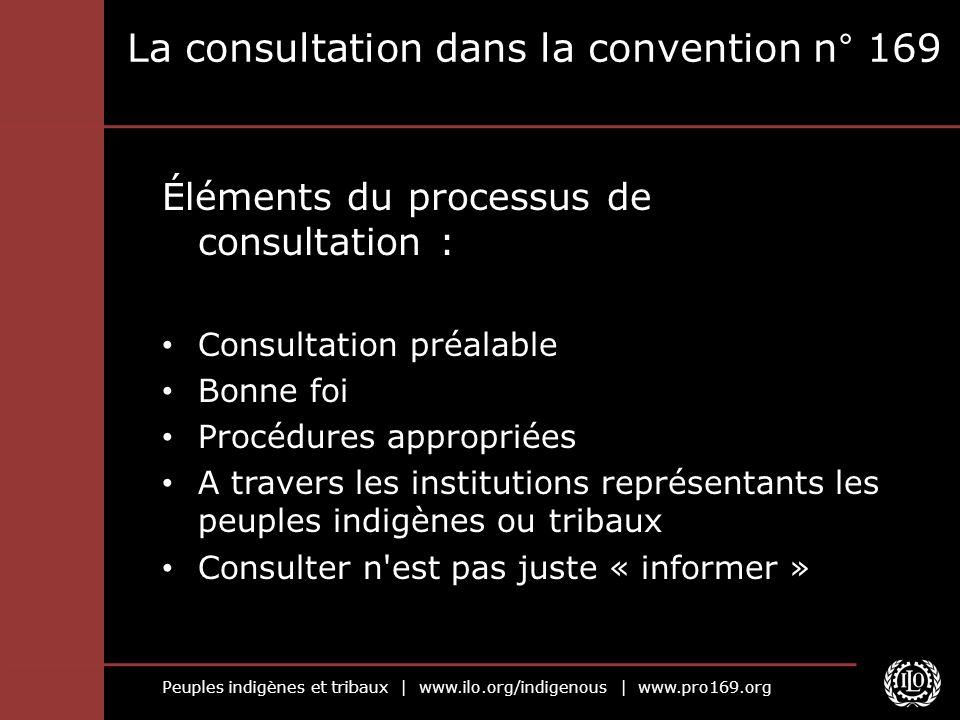 Peuples indigènes et tribaux | www.ilo.org/indigenous | www.pro169.org La consultation dans la convention n° 169 Éléments du processus de consultation
