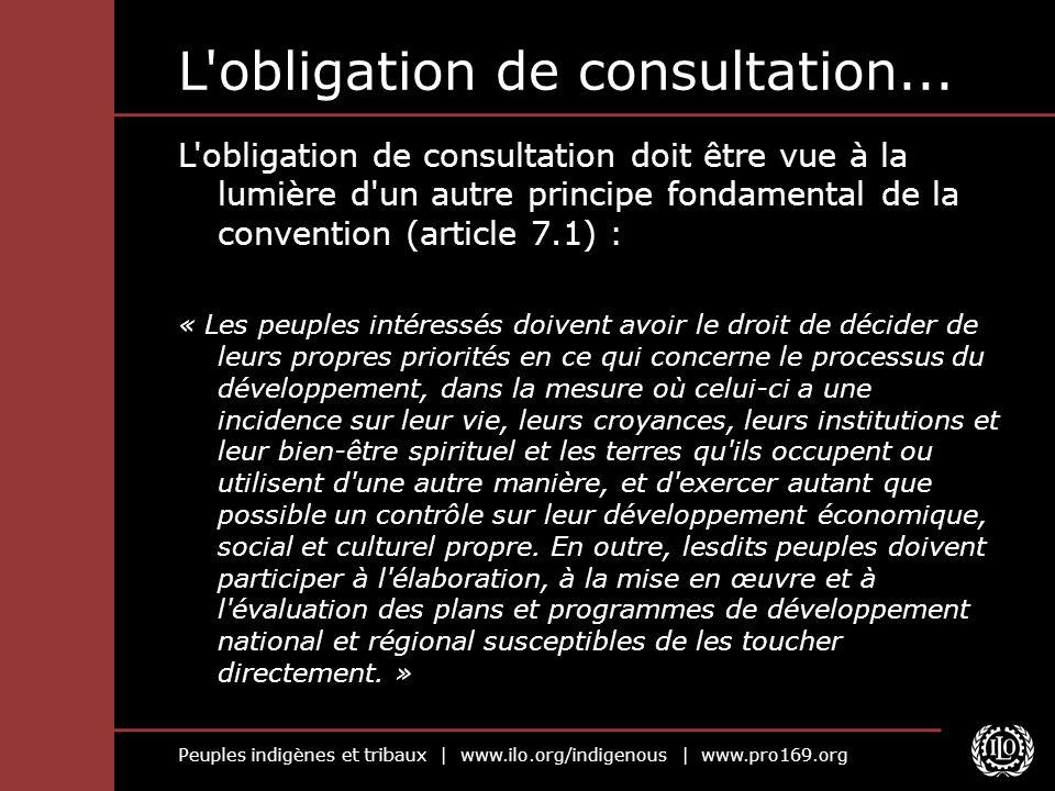 Peuples indigènes et tribaux | www.ilo.org/indigenous | www.pro169.org L'obligation de consultation... L'obligation de consultation doit être vue à la