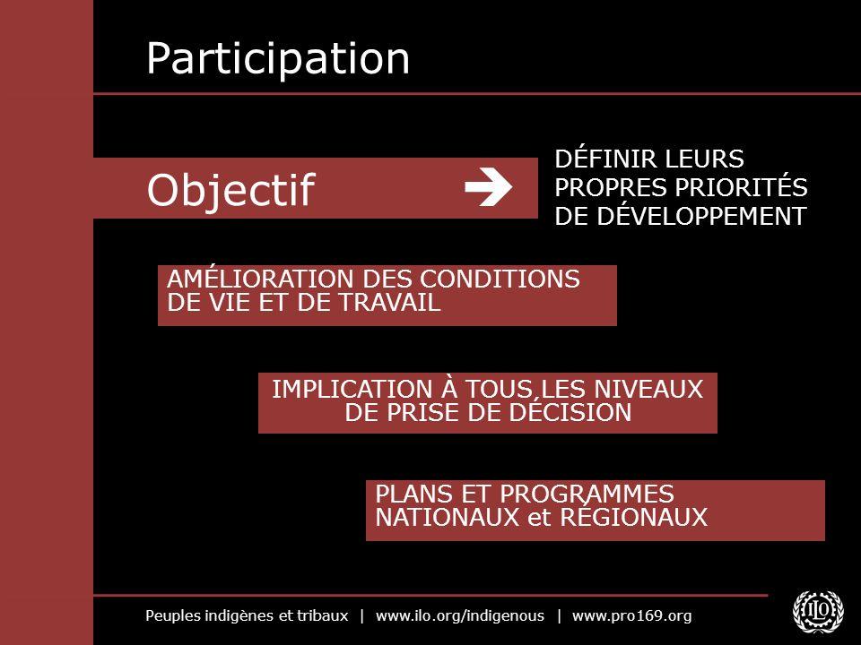Peuples indigènes et tribaux | www.ilo.org/indigenous | www.pro169.org Objectif Participation DÉFINIR LEURS PROPRES PRIORITÉS DE DÉVELOPPEMENT AMÉLIOR