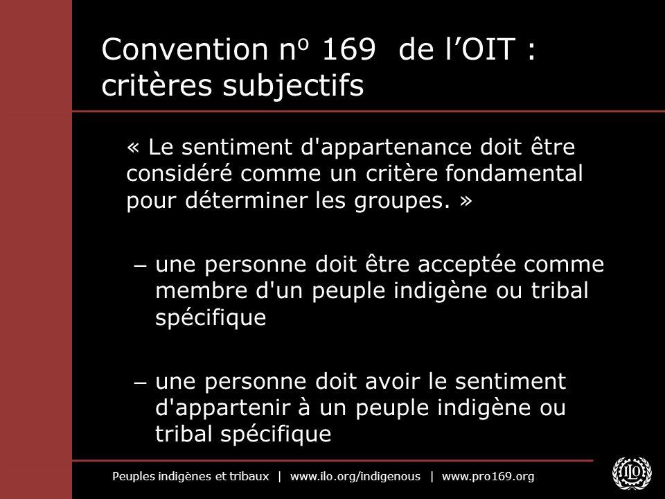 Peuples indigènes et tribaux | www.ilo.org/indigenous | www.pro169.org Convention n o 169 de lOIT : critères subjectifs « Le sentiment d appartenance doit être considéré comme un critère fondamental pour déterminer les groupes.