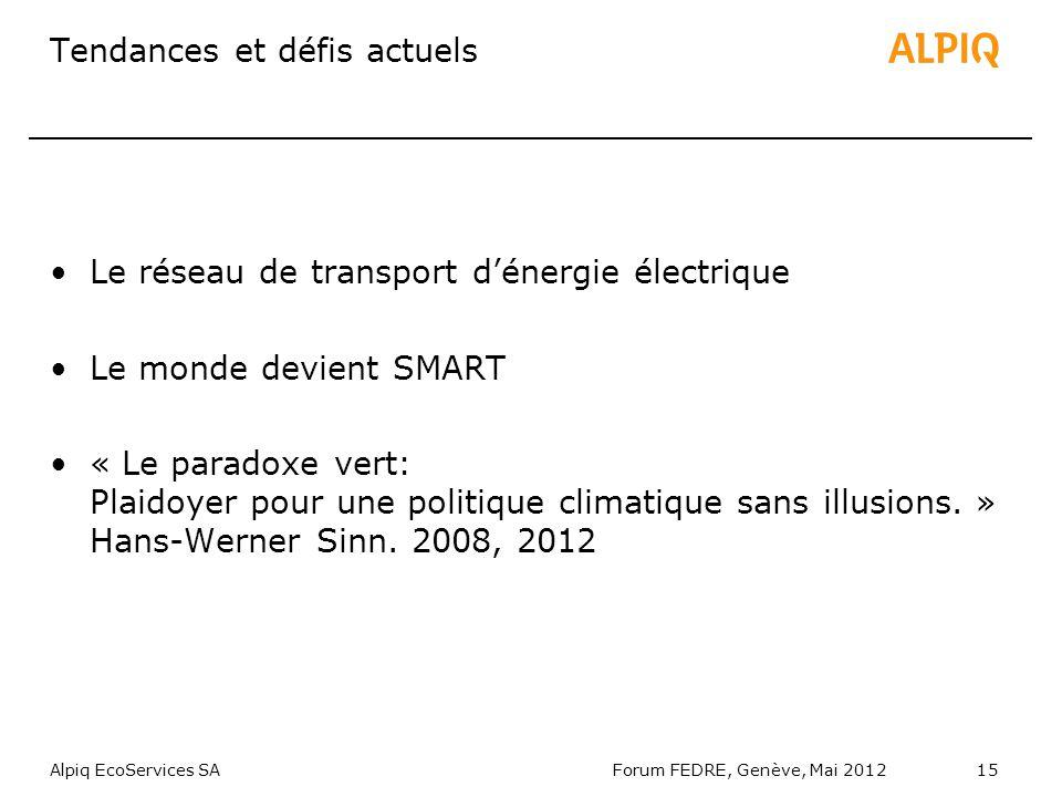 Alpiq EcoServices SAForum FEDRE, Genève, Mai 201215 Tendances et défis actuels Le réseau de transport dénergie électrique Le monde devient SMART « Le paradoxe vert: Plaidoyer pour une politique climatique sans illusions.