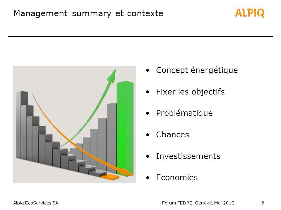 Alpiq EcoServices SAForum FEDRE, Genève, Mai 20128 Management summary et contexte Concept énergétique Fixer les objectifs Problématique Chances Investissements Economies