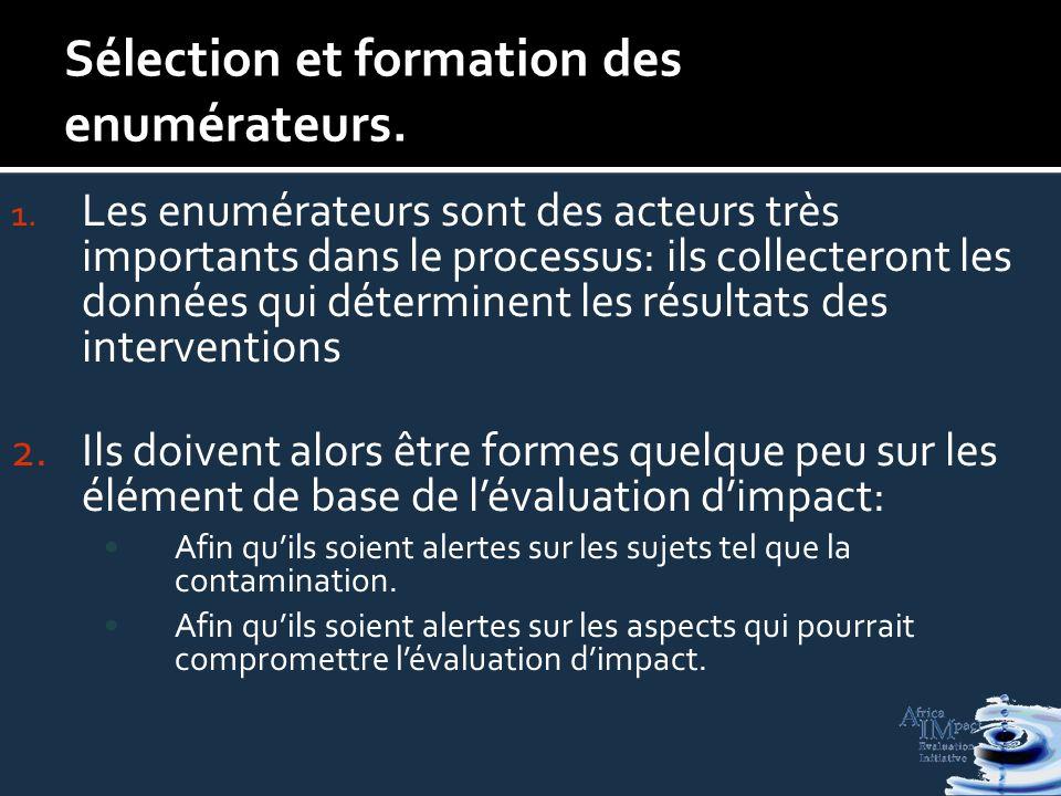 Sélection et formation des enumérateurs. 1.