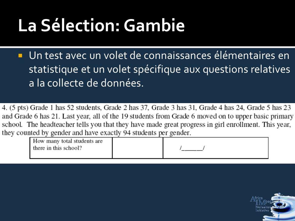 La Sélection: Gambie Un test avec un volet de connaissances élémentaires en statistique et un volet spécifique aux questions relatives a la collecte de données.