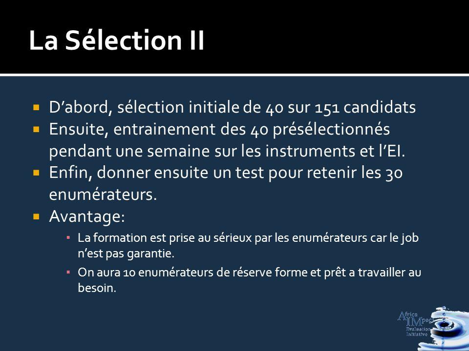 La Sélection II Dabord, sélection initiale de 40 sur 151 candidats Ensuite, entrainement des 40 présélectionnés pendant une semaine sur les instruments et lEI.