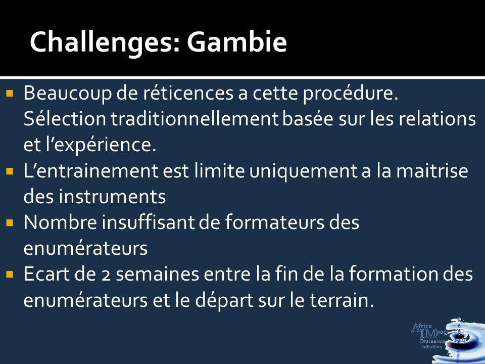 Challenges: Gambie Beaucoup de réticences a cette procédure.