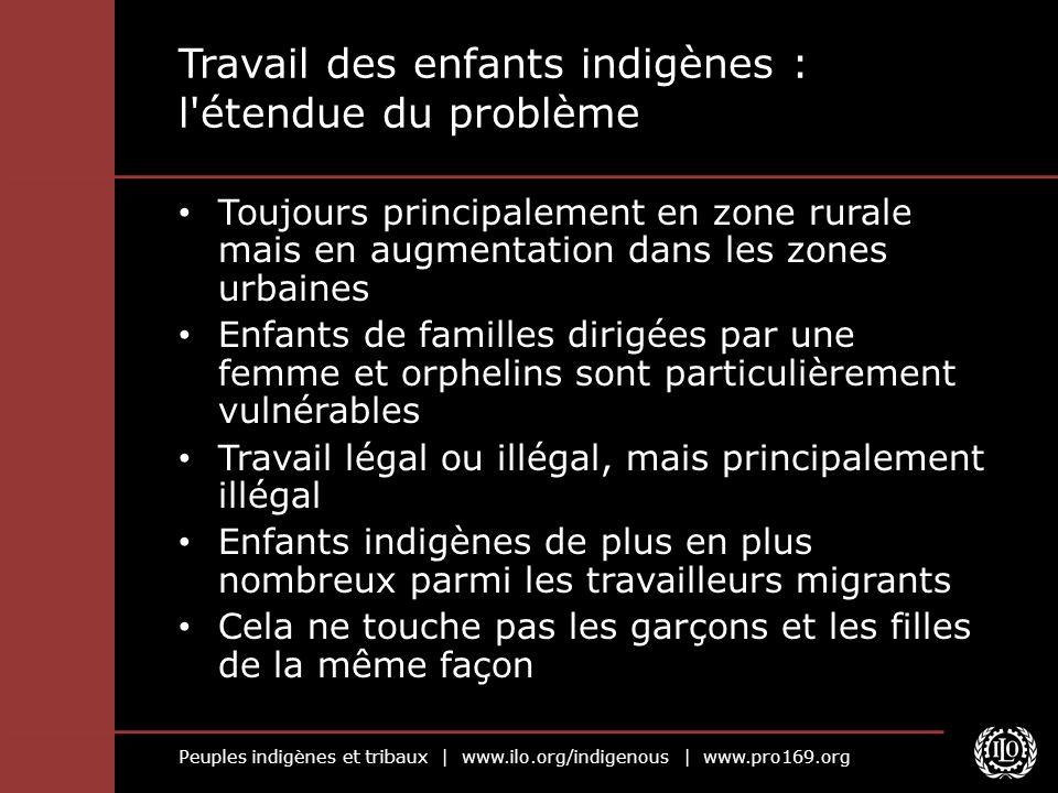 Peuples indigènes et tribaux | www.ilo.org/indigenous | www.pro169.org Travail des enfants indigènes : l'étendue du problème Toujours principalement e