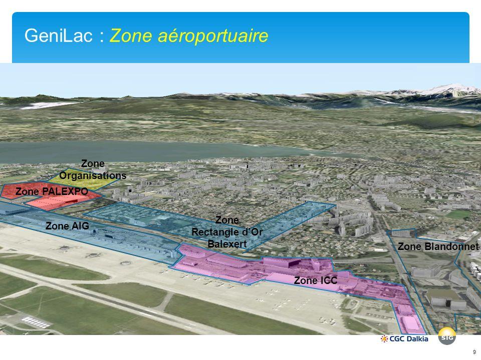 GeniLac : Zone aéroportuaire 9 Zone ICC Zone Organisations Zone AIG Zone PALEXPO Zone Blandonnet Zone Rectangle dOr Balexert