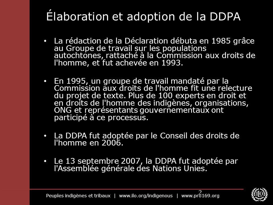 Peuples indigènes et tribaux | www.ilo.org/indigenous | www.pro169.org 2 Élaboration et adoption de la DDPA La rédaction de la Déclaration débuta en 1