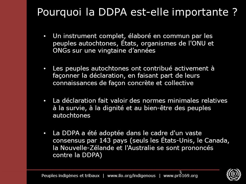 Peuples indigènes et tribaux | www.ilo.org/indigenous | www.pro169.org 3 Pourquoi la DDPA est-elle importante ? Un instrument complet, élaboré en comm