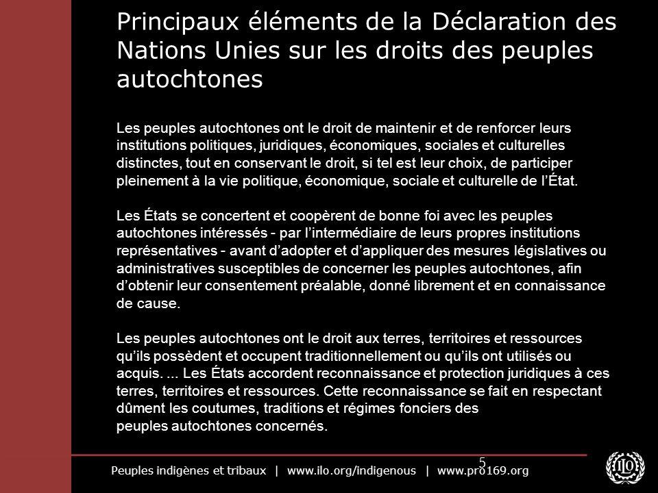 Peuples indigènes et tribaux | www.ilo.org/indigenous | www.pro169.org 6 Il n existe pas de système de contrôle dédié spécialement à cette déclaration.
