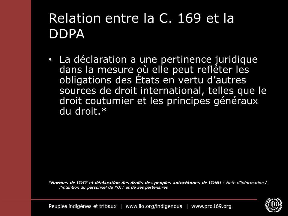 Peuples indigènes et tribaux | www.ilo.org/indigenous | www.pro169.org Relation entre la C. 169 et la DDPA La déclaration a une pertinence juridique d